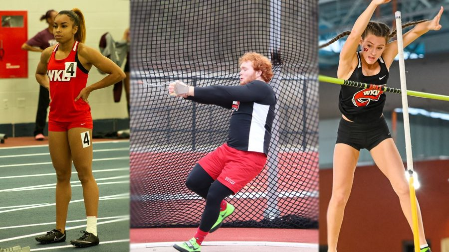 WKU Track & Field's (left) Alexis Williams, (middle) Brett Bannon, and (right) Grace Turnerearned individual event titles on Saturday at the Samford Invitational at the Birmingham Crossplex.