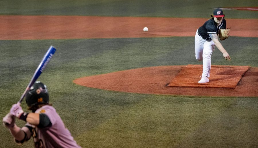 WKU Junior pitcher Sean Bergeron (23) delivers a pitch during their game against North Dakota State on Sunday, February 21, 2021 in Bowling Green, Ky.