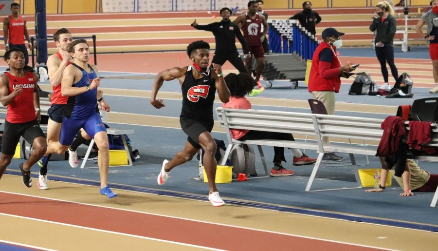 Graduate Marlowe Mosley running on Feb. 7, 2021 at the Jaguar Invitational. Mosley claimed the 400-meter title in the third event of the spring.