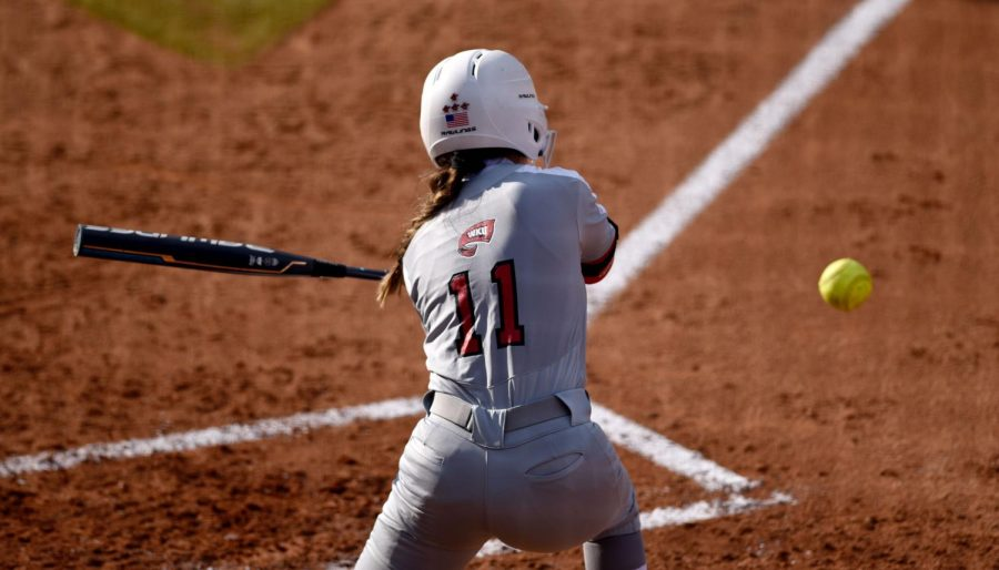 WKU+outfielder+Brylee+Hage+%2811%29+bats+during+the+WKU+v+MTSU+softball+game+on+Mar.+6%2C+2020+at+the+WKU+Softball+Complex.+The+Hilltoppers+won+3-1.