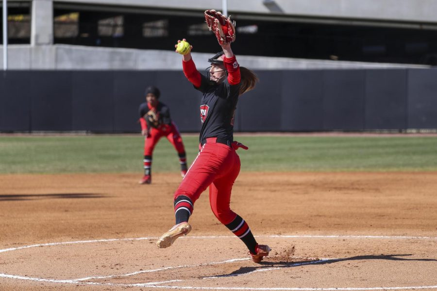 Kelsey Aikey pitching against Illinois State on February 29, 2020 at the WKU Softball Complex.