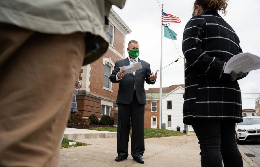 Bowling Green Mayor Todd Alcott speaks to a crowd outside Bowling Green City Hall on Feb. 2. In the crowd were members of the Sunrise Movement who were seeking to raise awareness of the struggles of renters in Bowling Green.