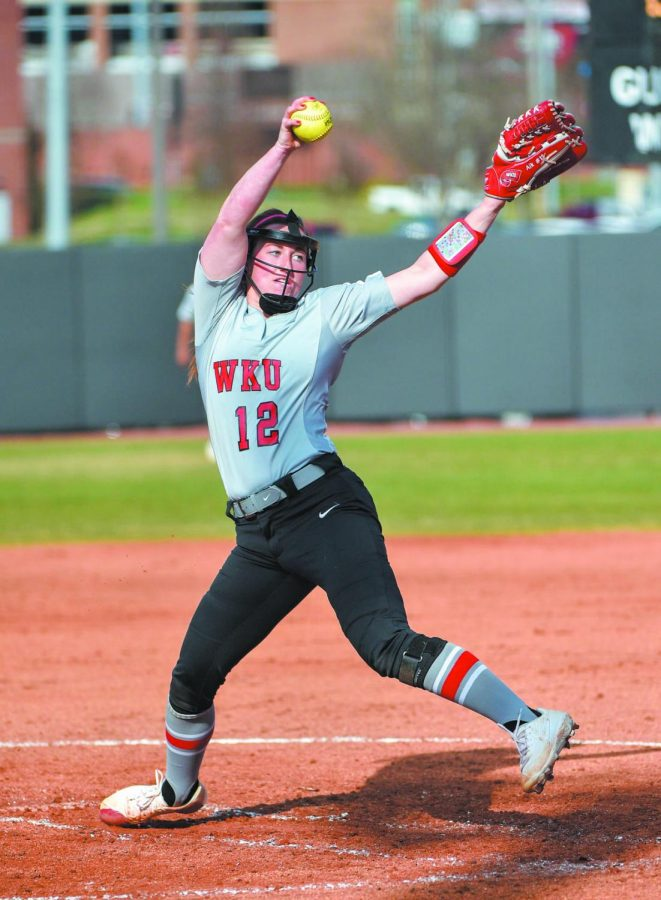 Lady Topper Kelsey Aikey (12) pitching against Illinois State on March 1, 2020 at the WKU Softball Complex