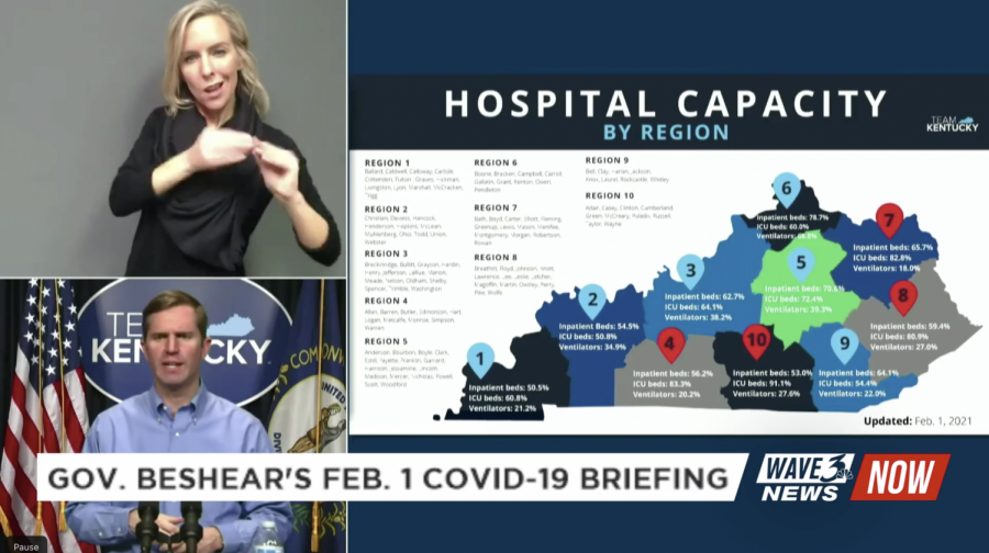 Beshear announced a red status for four hospital regions, including Region 4 which contains Warren and surrounding counties. Region 4 is at 83.3% ICU capacity, the second highest in the state.
