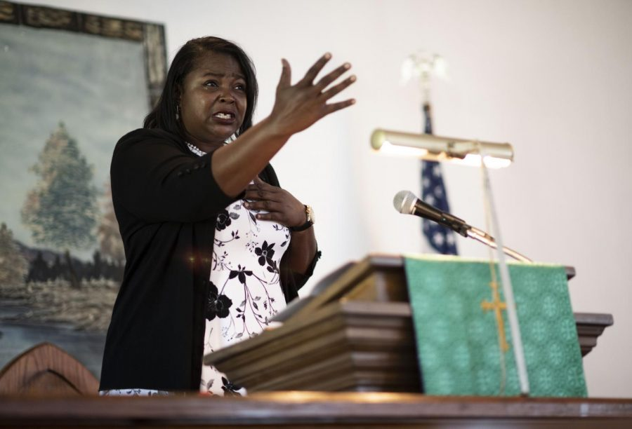 On September 20, 2020, at Pleasant Point Baptist Church, Randolph uses the theme Faith over Fear in her sermon to relinquish any worry of the unknown during COVID-19 or elements that can cause doubt and withhold God's presence in the congregation.