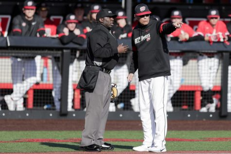 Head baseball coach John Pawlowski argues with an umpire during the game against Wright State on February 22, 2020 at Nick Denes field. WKU won 7-2.