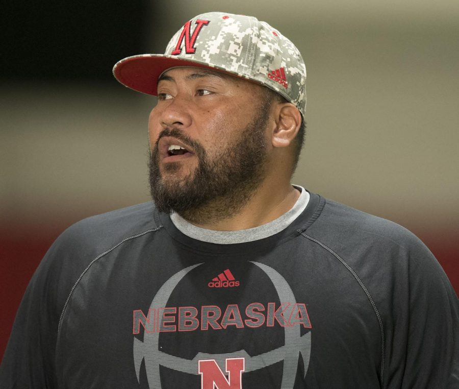 Nebraska+defensive+line+coach+Tony+Tuioti+gives+instructions+during+practice+at+Hawks+Championship+Center+in+August+of+2019.%C2%A0