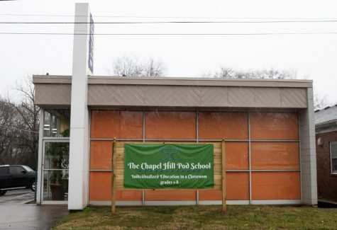 The outside of the Chapel Hill Pod School on February 28, 202.