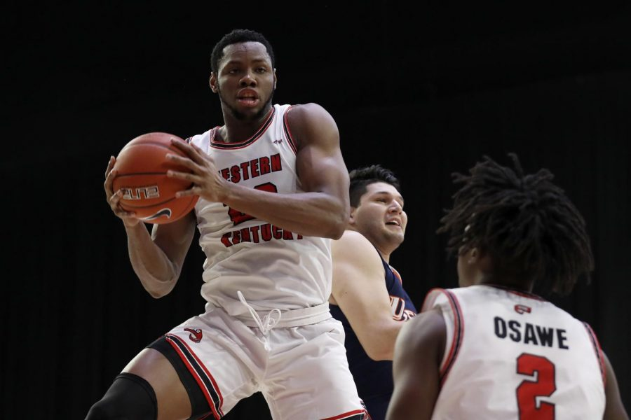 Junior Charles Bassey handling the ball in the C-USA quarterfinals on March 11, 2021 against UTSA.