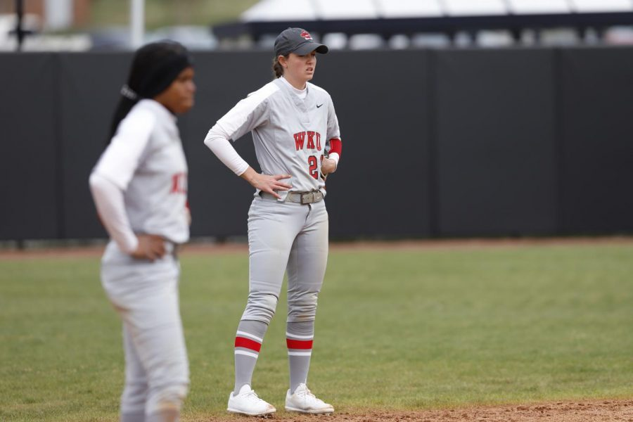 Second+baseman+Morgan+McElroy+prepares+in+the+in-field+as+WKU+takes+the+field+for+the+bottom+of+the+5th+inning.+The+Hilltoppers+defeated+the+Phoenix+3-0+to+take+3rd+place+in+the+Hilltopper+Classic+February+23%2C+2019.