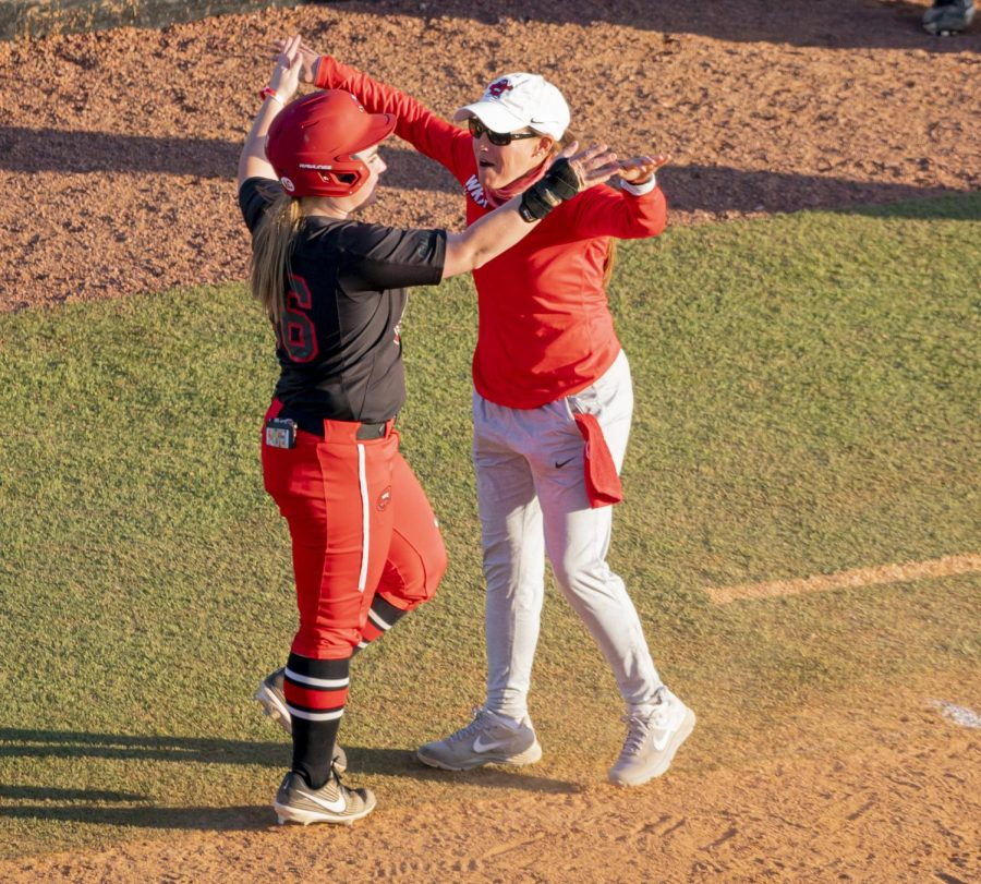 WKU outfielder, Paige Carter (26) hit a walk-off during the game against UAB Saturday, March 20, 2021.