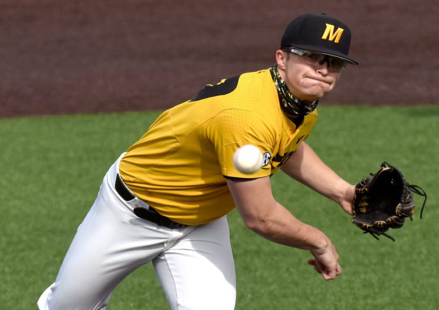 Missouri pitcher Lukas Veinbergs pitches against Omaha on Feb. 27 at Taylor Stadium in Columbia. Veinbergs will make the third start of his career Tuesday when the Tigers take on Kansas in Lawrence, Kan., for the 346th meeting between the two schools.
