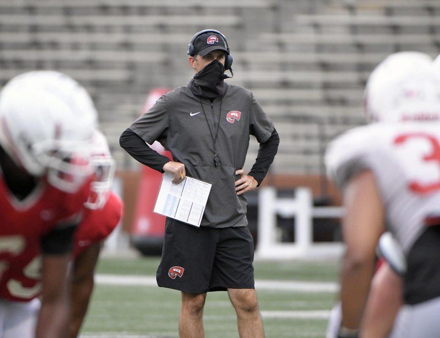 WKU head coach Tyson Helton oversees a practice on Sep. 1, 2020.