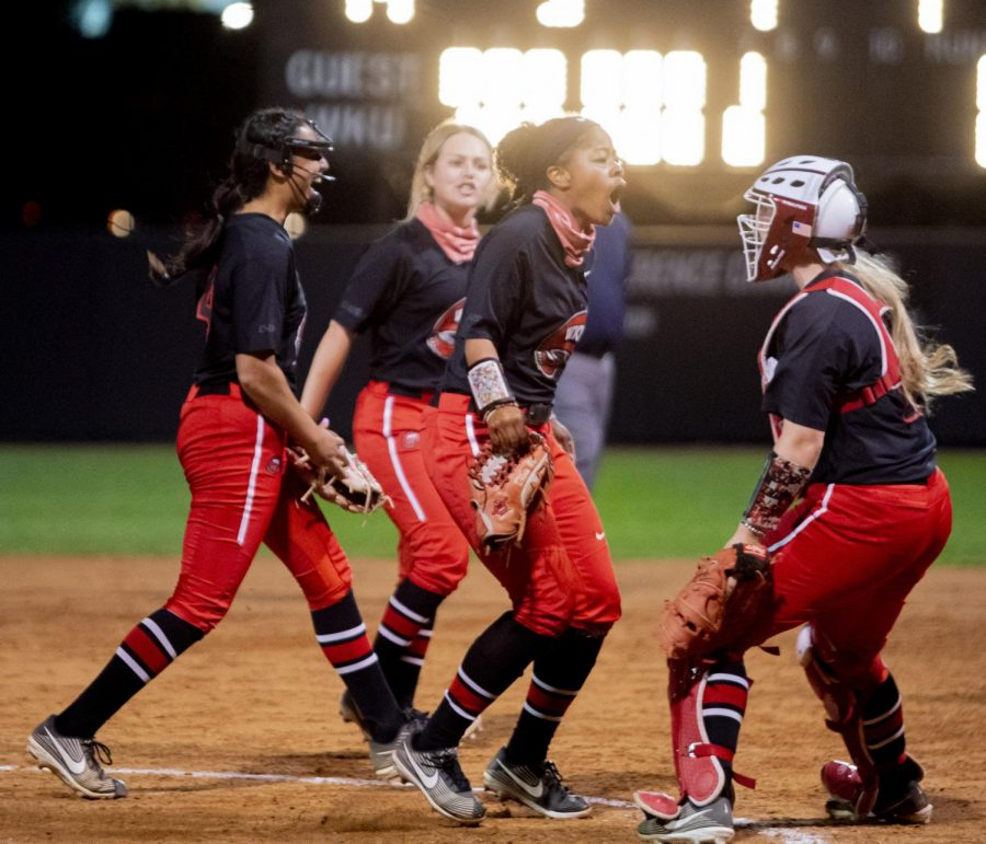 WKU outfielder, Taylor Davis (6) celebrates after making a diving catch during the game against Kentucky on Wednesday, March 24, 2021 in Bowling Green, Ky.