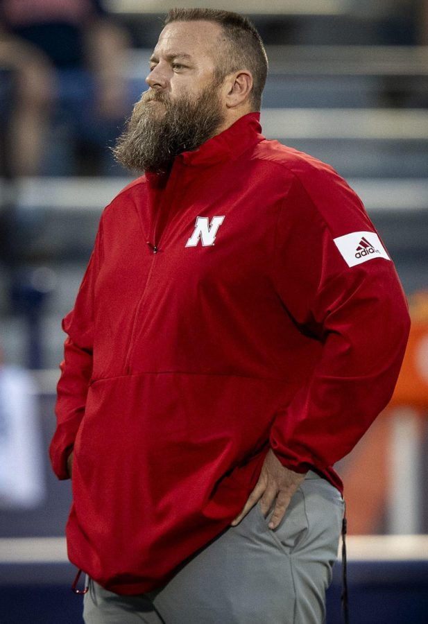 Nebraska+strength+coach+Zach+Duval+watches+the+team+during+pregame+warmups+Sept.+21%2C+2019%2C+in+Champaign%2C+Illinois.