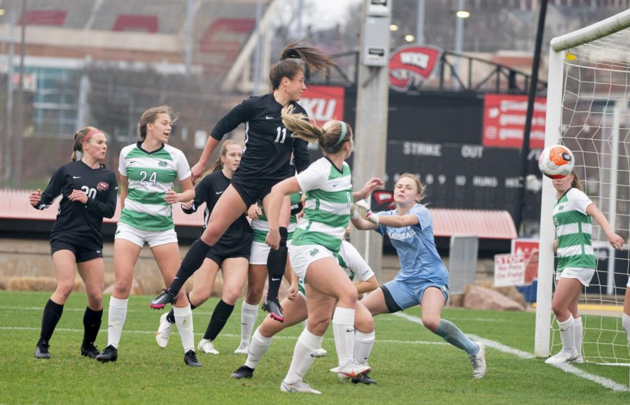 Freshman Ellie Belcher hit a header goal during the game against Marshall Thursday, March 18, 2021. The Lady Topper went on to win 2-1 over the Thundering Herd.