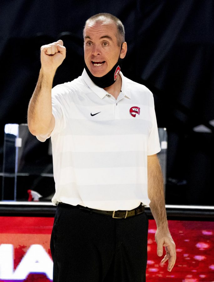 WKU Volleyball head coach Travis Hudson yelling at his players during the against FIU on Sunday, March 7, 2021 in Diddle Arena.