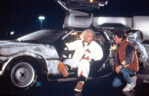 BACK TO THE FUTURE, Christopher Lloyd, Michael J. Fox, 1985. (c) MCA/Universal Pictures/ Courtesy: Everett Collection.