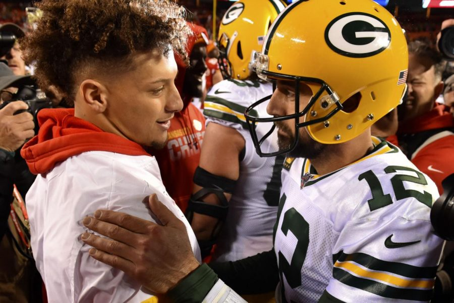 Injured Chiefs quarterback Patrick Mahomes meets with Packers quarterback Aaron Rodgers following the Oct. 27, 2019, game in Kansas City, Mo. The Packers won 31-24.