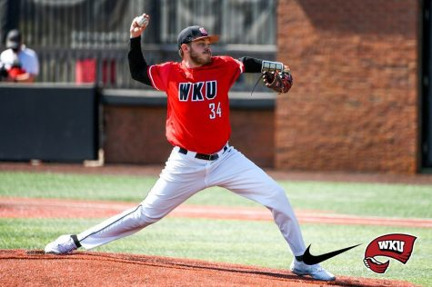 Junior Aristotle Peter pitching against Valparaiso on March 21, 2021 in Nick Denes Field. WKU went on to win 11-1 over the Crusaders to improve to 10-9 on the season.