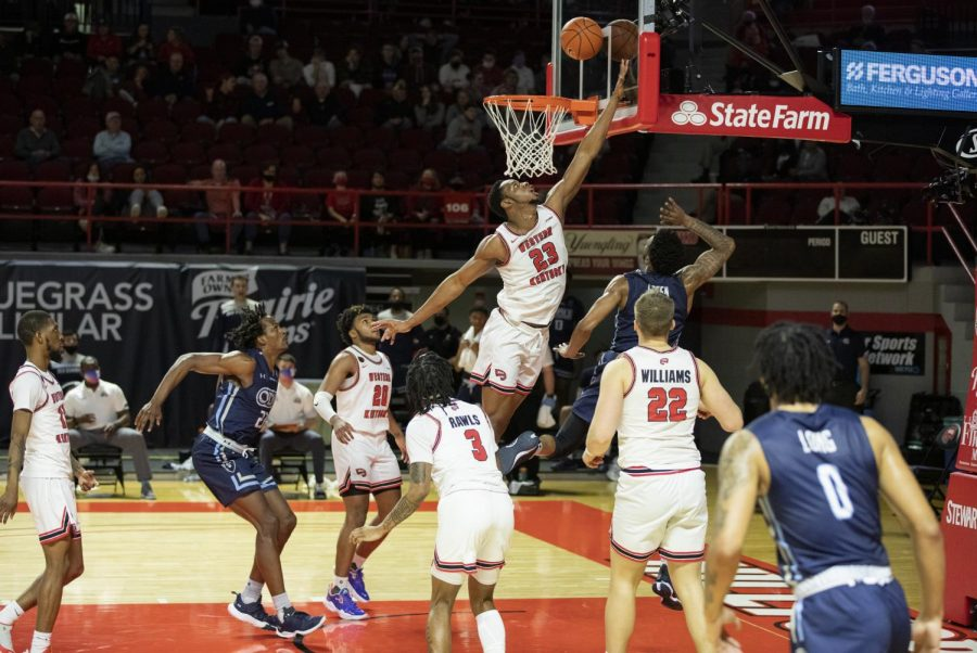 WKU+basketball%E2%80%99s+Charles+Bassey+%2823%29+goes+up+for+the+block+attempt+against+Old+Dominion+during+their+game+on+March+5%2C+2021.