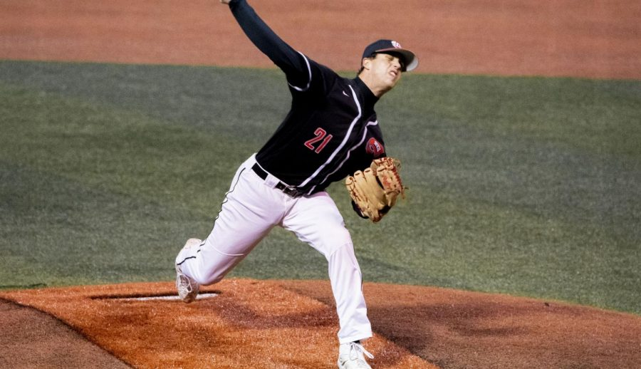 WKU redshirt sophomore pitcher Jake Kates (21) delivers a pitch during their game against North Dakota State on Sunday, February 21, 2021 in Bowling Green, Ky.