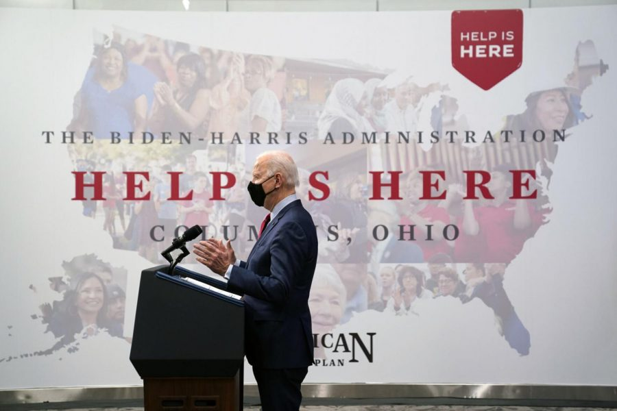 President Joe Biden speaks Tuesday, March 23, 2021, after a tour of the James Cancer Hospital and Solove Research Institute at The Ohio State University in Columbus, Ohio.