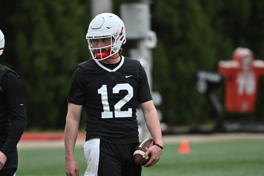 Redshirt sophomore Drew Zaubi (12) out on Feix Field for WKU's second spring practice on March 18, 2021.