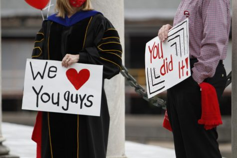Students in the WKU Department of Communication participated in a drive through ceremony honoring their departure from WKU, after normal graduation practices were suspended due to the ongoing coronavirus pandemic on May 16, 2020.