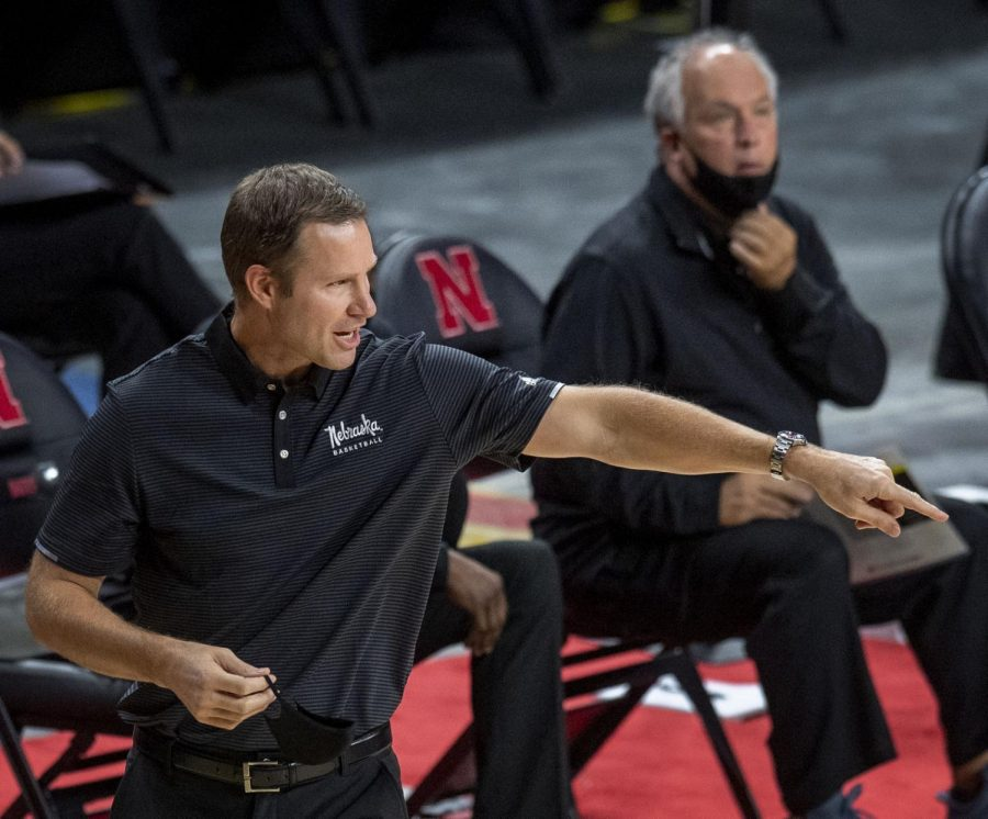 Nebraska coach Fred Hoiberg (left) directs the Huskers on the court as assistant coach Doc Sadler looks on earlier this season at Pinnacle Bank Arena.