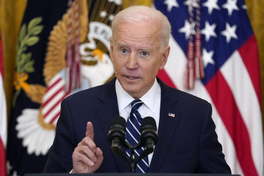 President Joe Biden speaks during a news conference in the East Room of the White House on Thursday, March 25, 2021, in Washington.