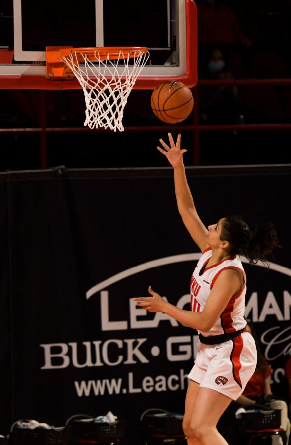 WKU guard Meral Abdelgawad (40) makes a basket at the game in Diddle Arena on Feb. 5, 2021. WKU won 71-64.