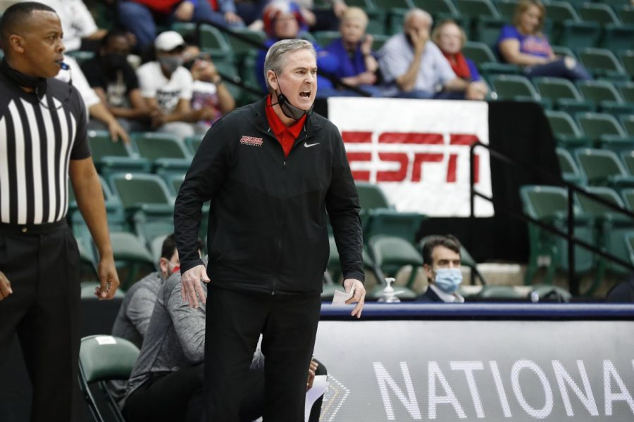 WKU+head+coach+Rick+Stansbury+yelling+at+his+team+while+playing+in+the+NIT+basketball+tournament+on+March+25%2C+2021.