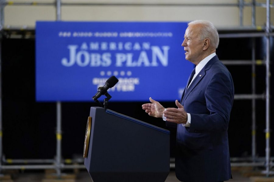 President Joe Biden delivers a speech on infrastructure spending Wednesday, March 31, 2021, at Carpenters Pittsburgh Training Center in Pittsburgh.