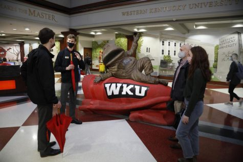 WKU Spirit Masters and Juniors John Downing and Matthew Wininger give a tour to a prospective freshman and family inside Downing Student Union on March 15. Spirit Masters are the official student ambassadors who are responsible for preserving traditions, striving for excellence, and making the spirit of WKU contagious. With in-person classes and living, Spirit Masters are still able to continue the tradition of giving one-on-one tours to prospective students and their families both in-person and virtual.