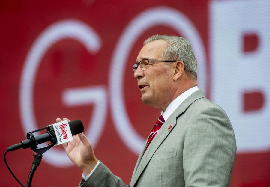 Nebraska athletic director Bill Moos addresses the crowd assembled for the announcement of the Huskers' new football facility Sept. 27, 2019, at the East Stadium Plaza.