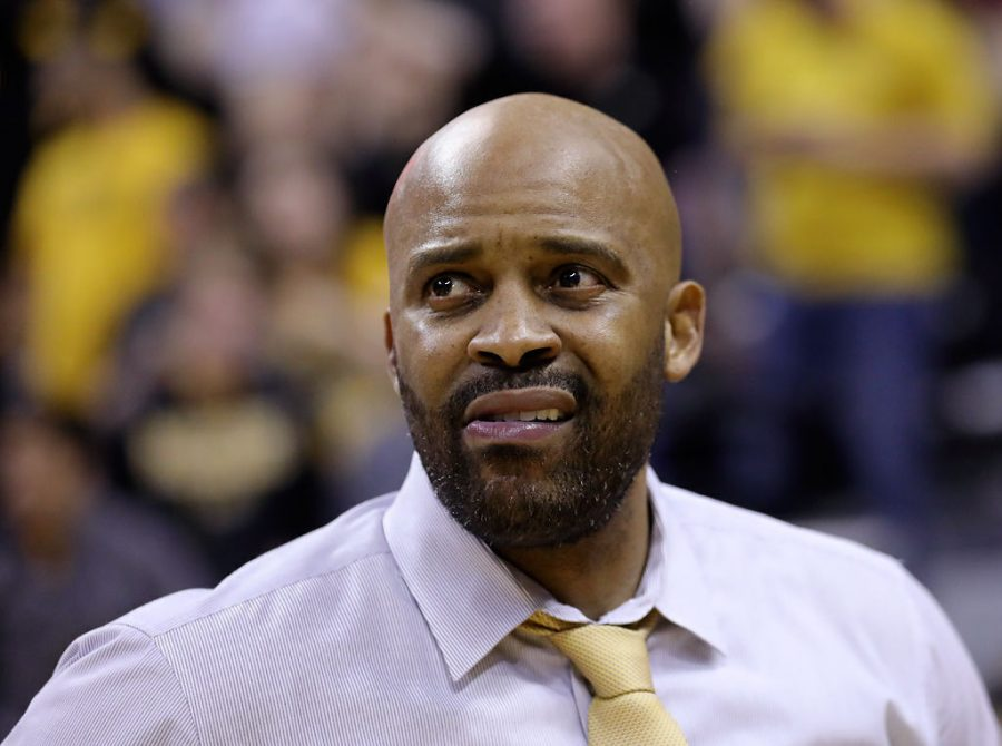 Missouri men's basketball coach Cuonzo Martin looks into the crowd after a victory against Mississippi State in February 2018 at Mizzou Arena. Martin, who took the Tigers to as high as No. 10 in the AP Top 25 this season, saw his team flame out as the season went along. Nonetheless, Martin should be solidly in place as Missouri's leader for the future as a possible extension looms.