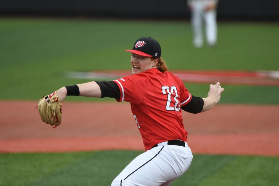 WKU pitcher Sean Bergeron (23) pitches against Valparaiso at Nick Denes Field on Feb. 16, 2020. WKU won 6-2.
