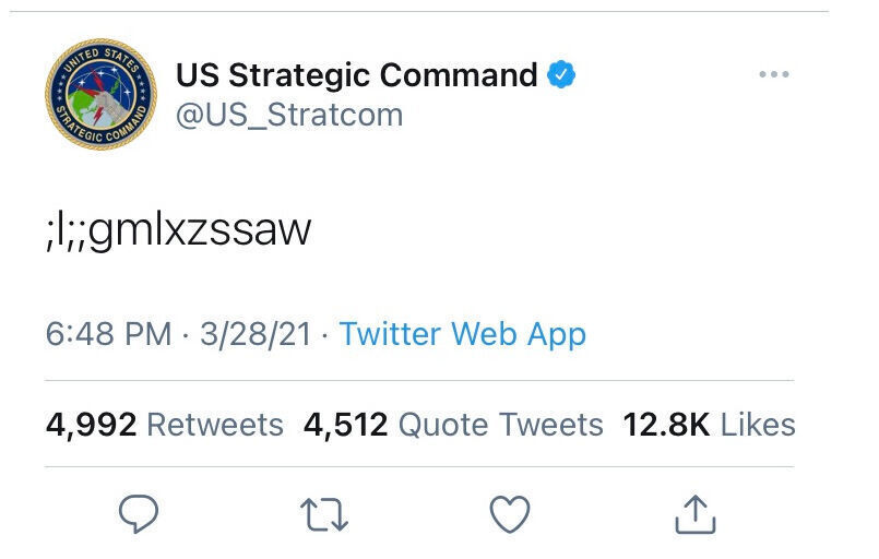 Offutt-based U.S. Strategic Command issued this puzzling tweet Sunday night. It turned out the young child of the nuclear command's teleworking Twitter manager had gotten ahold of an open laptop that was briefly left unattended and issued the tweet, which was quickly deleted.