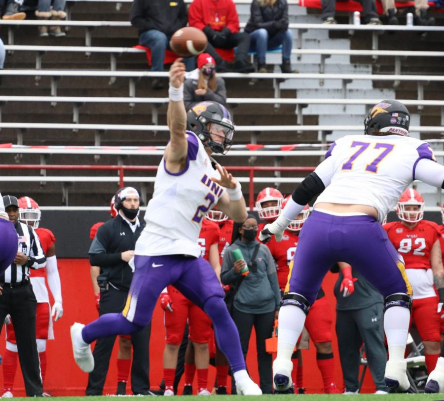 Northern Iowa quarterback Will McElvain fires a pass during the Panthers' 21-0 victory over Youngstown State Saturday in Youngstown, Ohio.