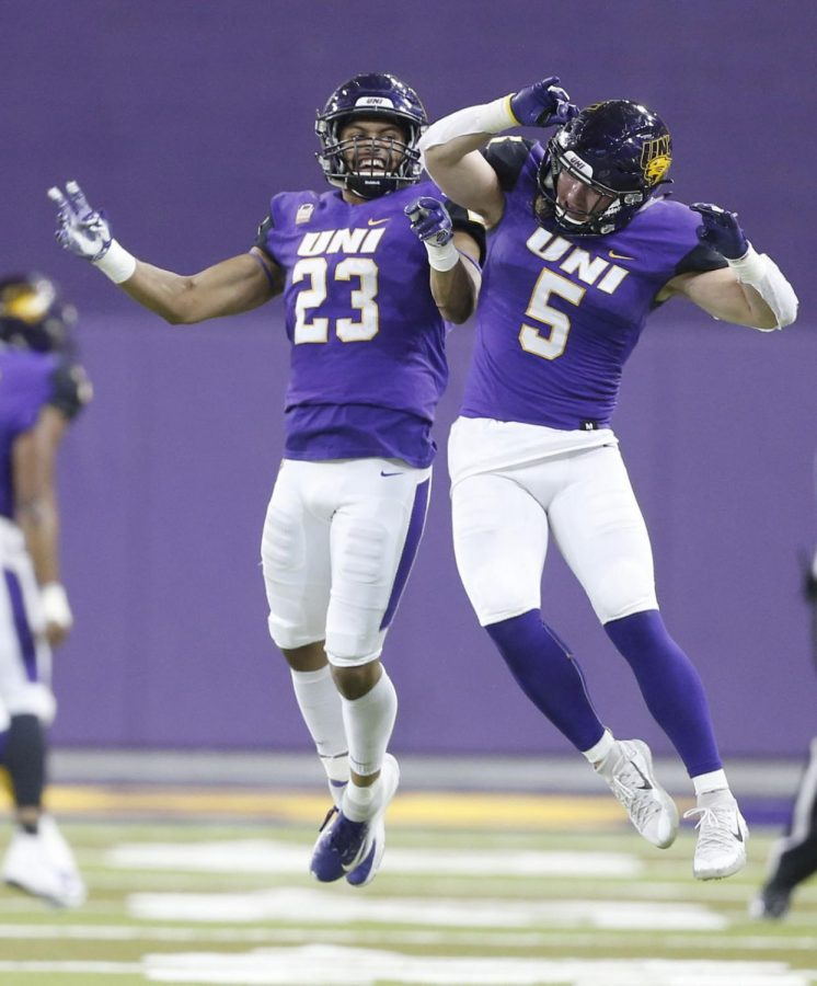 Northern Iowa's A.J. Allen, left, and Korby Sander celebrate victory as time runs out for Lamar during the Panthers' 2018 playoff win. Sander has made an impact during this return to the field this spring.