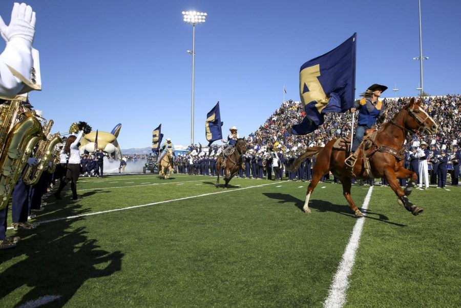 Montana+State%27s+rodeo+team+kicks+off+the+MSU+homecoming+game+against+Sacramento+State+in+2019+at+Bobcat+Stadium.