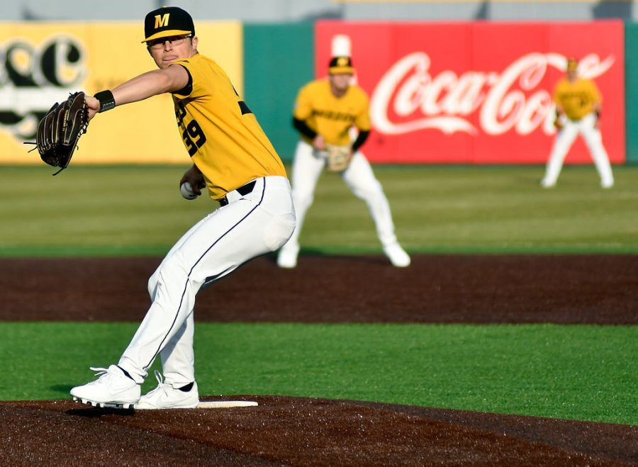 Missouri's Lukas Veinbergs delivers a pitch against Western Illinois on March 7, 20201, at Taylor Stadium. Last season, Veinbergs appeared in 11 games out of the bullpen.