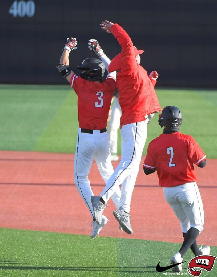 Freshman Eric Riffe celebrating his walk-off hit in the 10th inning against Charlotte on March 28, 2021. WKU won 17-16 to conclude the first C-USA series of the season.