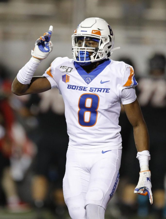 Boise+State+cornerback+Markel+Reed+celebrates+after+a+play+against+UNLV+during+a+game+Oct.+5%2C+2019.