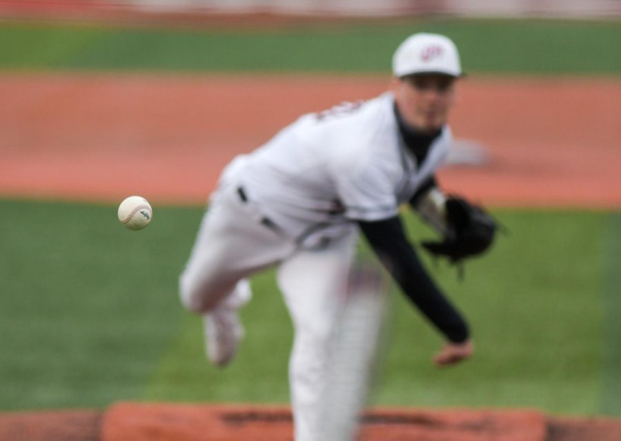 WKU pitcher Collin Lollar (20) throws a pitch at the baseball game at Nick Denes Field on Feb. 27, 2021. WKU lost 11-3.