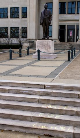 """Cancel rape culture"" written on the steps of Cherry Hall following the arrest of a student on rape charges."