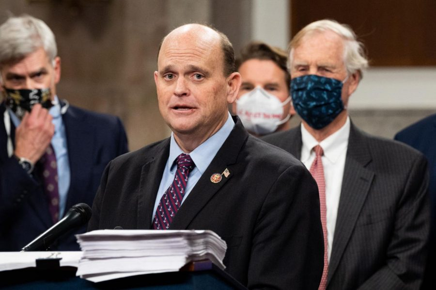 U.S. Rep. Tom Reed speaks at a Dec. 14, 2020, news conference to introduce a bipartisan and bicameral COVID-19 relief bill.