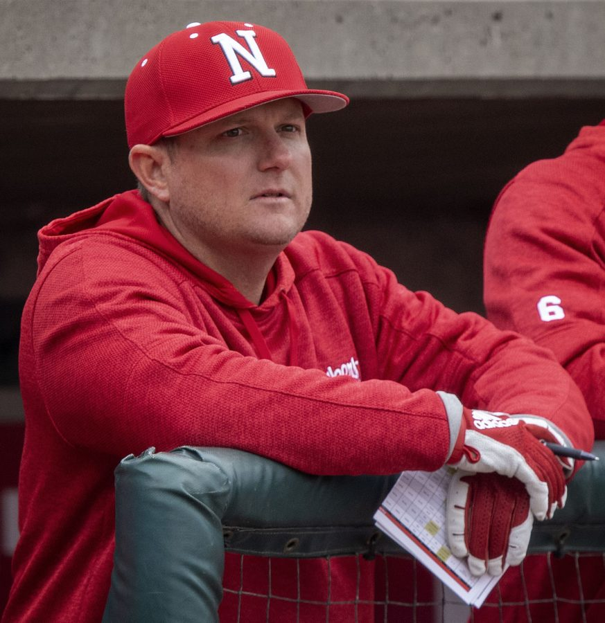 Nebraska+baseball+coach+Will+Bolt+watches+the+action+against+Northern+Colorado+from+the+Husker+dugout+last+March+at+Haymarket+Park.