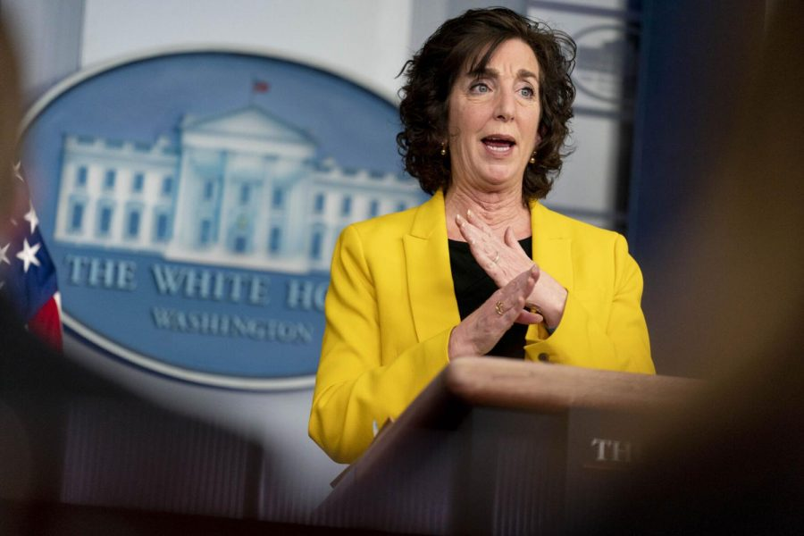 National Security Council Coordinator for U.S. Southern Border Roberta Jacobson speaks at a press briefing at the White House, Wednesday, March 10, 2021, in Washington.